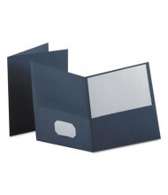 "Oxford 100-Sheet 8-1/2"" x 11"" Embossed Leather Grain Two-Pocket Portfolio, Dark Blue, 25/Box"