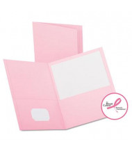 """Oxford 1/2"""" Capacity 8-1/2"""" x 11"""" Embossed Leather Grain Twin-Pocket Folder, Pink, 25/Box"""