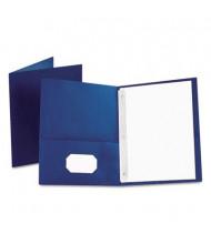 "Oxford 1/2"" Capacity 8-1/2"" x 11"" Tang Fastener Twin-Pocket Folders, Blue, 25/Box"