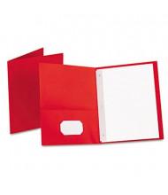 "Oxford 1/2"" Capacity 8-1/2"" x 11"" Tang Fastener Twin-Pocket Folders, Red, 25/Box"