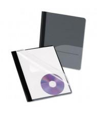 "Oxford 1/2"" Capacity 8-1/2"" x 11"" Prong Fastener CD Pocket Report Cover, Black, 25/Box"