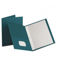 "Oxford 1/2"" Capacity 8-1/2"" x 11"" Tang Fastener Twin-Pocket Folders, Teal, 25/Box"