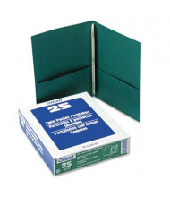 "Oxford 1/2"" Capacity 8-1/2"" x 11"" 3-Fastener Twin-Pocket Folders, Hunter Green, 25/Box"