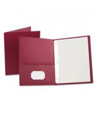 "Oxford 1/2"" Capacity 8-1/2"" x 11"" Tang Fastener Twin-Pocket Folders, Burgundy, 25/Box"