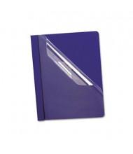 "Oxford 1/2"" Capacity 8-1/2"" x 11"" Prong Fastener Premium Paper Report Cover, Blue, 25/Box"