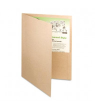 "Oxford Earthwise 8-1/2"" x 11"" 100% Recycled Two-Pocket Folder, Natural, 25/Box"