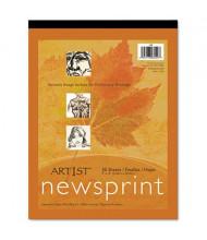 "Pacon Art1st 9"" x 12"", 30lb, 50-Sheet, White Newsprint Pad"