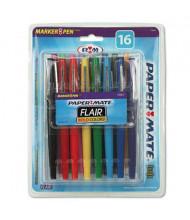 Paper Mate Flair Medium Stick Porous Point Pens, Assorted, 16-Pack