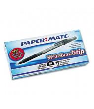Paper Mate Write Bros. Grip 1 mm Medium Stick Ballpoint Pens, Black, 12-Pack