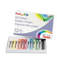 Pentel 12-Color Oil Pastel Set With Carrying Case, Assorted, 12/Set