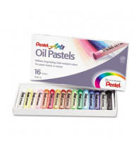 Pentel 16-Color Oil Pastel Set With Carrying Case, Assorted, 16/Set
