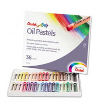 Pentel 36-Color Oil Pastel Set With Carrying Case, Assorted, 36/Set