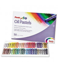 Pentel 45-Color Oil Pastel Set With Carrying Case, Assorted, 50/Set
