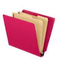 Pendaflex 6-Section Letter Pressboard 25-Point End Tab Classification Folders, Red, 10/Box