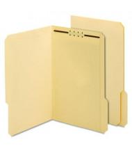Globe-Weis 1/3 Cut Tab Legal Treated Fastener Folder, Manila, 50/Box