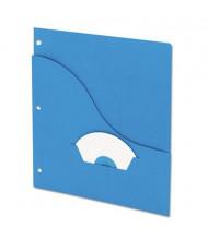 "Pendaflex 8-1/2"" x 11"" 3-Hole Punched Slash Pocket Project Folders, Blue, 25/Pack"