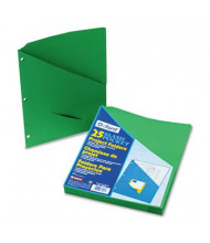 "Pendaflex 8-1/2"" x 11"" 3-Hole Punched Slash Pocket Project Folders, Green, 25/Pack"