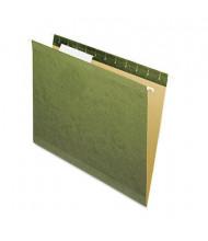 Pendaflex Reinforced Letter No Tab Hanging File Folders, Green, 25/Box