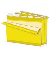 Pendaflex Ready-Tab Reinforced Letter 1/5 Tab Hanging File Folders, Yellow, 25/Box