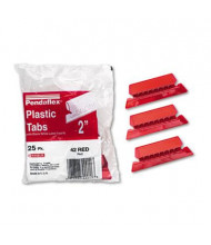 "Pendaflex Pliable 1/5 Tab 2"" Hanging File Tabs with Inserts, Red/White, 25/Pack"