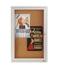 Quartet Indoor Hinged 2' x 3' Aluminum Enclosed Cork Bulletin Board Cabinet