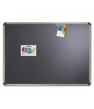Quartet Prestige 4' x 3' Euro Titanium Frame Black Embossed Foam Bulletin Board