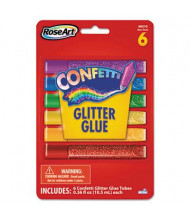 RoseArt .21 oz Confetti Glitter Glue Sticks, Assorted, 6/Pack