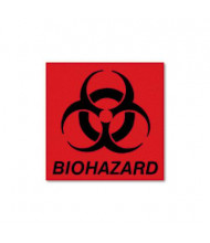 "Rubbermaid 5-3/4"" x 6"" Biohazard Decal, Fluorescent Red"