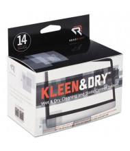 Read Right Kleen & Dry Screen Cleaner Wet Wipes Box, 14 Wipes
