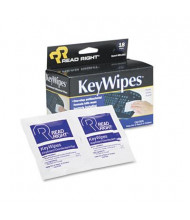 Read Right KeyWipes Keyboard & Hand Cleaner Wet Wipes Box, 18 Wipes