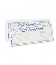 "Rediform 8-1/2"" x 3-2/3"" 25-Sheets, Blue Gold Gift Certificates with Envelopes"