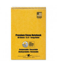 "Roaring Spring 6"" X 9"" 60-Sheet 12-Pack Gregg Rule Sugarcane Steno Notepads, White Paper"