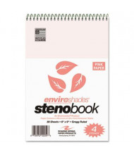 "Roaring Spring 6"" X 9"" 80-Sheet 4-Pack Gregg Rule Enviroshades Steno Notepad, Pink Paper"