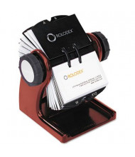 "Rolodex Wood Tones Open Rotary Business Card File Holds 400 2 5/8"" x 4"" Cards, Mahogany"