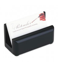 "Rolodex Wood Tones Business Card Holder, 50 2 1/4"" x 4"" Cards, Black"