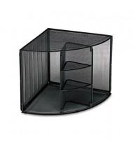 "Rolodex 13"" H Mesh 5-Compartment Corner Desktop Shelf, Black"