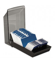 """Rolodex Covered Tray Card File with 24 A-Z Guides Holds 500 2 1/4"""" x 4"""" Cards, Black"""