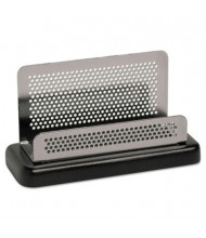 "Rolodex Distinctions Business Card Holder, Capacity 50 2 1/4"" x 4"" Cards, Metal/Black"