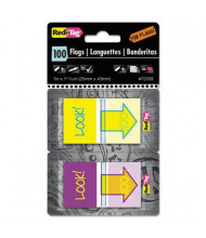 "Redi-Tag 1"" x 1 11/16"" ""Look!"" Pop-Up Fab Flags with Dispenser, Purple/Yellow, 100/Pack"