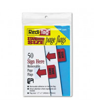 "Redi-Tag 1-7/10"" x 1"" ""Sign Here"" Removable Page Flags, Red, 50 Flags/Pack"