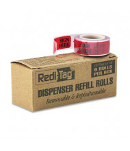 """Redi-Tag 9/16"""" x 1-3/4"""" """"Sign Here"""" Message Arrow Page Flags, Red, 720 Flags/Pack"""