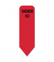 "Redi-Tag 1/2"" x 1 11/16"" ""Signer Ici"" French Arrow Flags Roll Dispenser Refill, Red, 720/Pack"