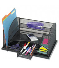 Safco Onyx Mesh Organizer with Three Drawers, Black