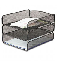 Safco Three-Tier Onyx Steel Mesh Desk Letter Tray, Black