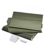 "Safco 18""x14"" Large Print 1/5 Tab Hanging File Folders, Green, 25/Box"