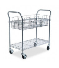 "Safco 39"" D 1-Shelf Wire Mail Cart, Metallic Gray"