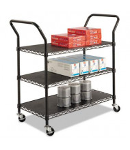 Safco 3-Shelf Wire Utility Cart, Black