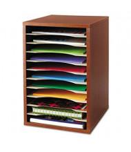 Safco 11-Section Vertical Wood Desktop Literature Sorter, Cherry
