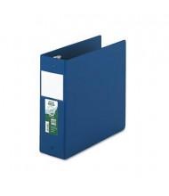 "Samsill 4"" Capacity 8-1/2"" x 11"" Round Ring Clean Touch Non-View Binder, Dark Blue"