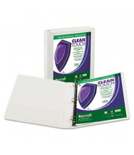 "Samsill 1"" Capacity 8-1/2"" x 11"" Locking Straight-D Ring Clean Touch View Binder, White"